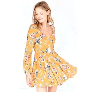 Urban Outfitters Yellow Floral Skater Dress